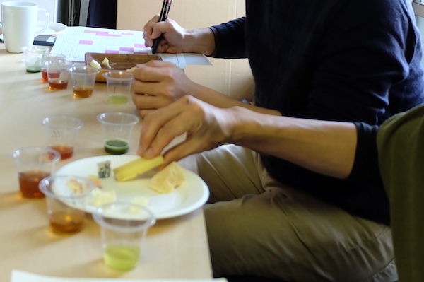 tasting of cheese and tea